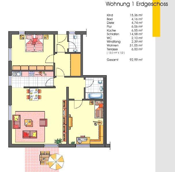 Grundriss wohnung  Grundriss ETW / Wohnung mit 93 m² / EG: Verkauf ETW / Wohnungen ...
